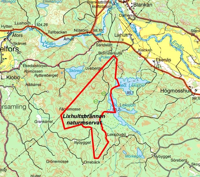 Karta över Lixhultsbrännan